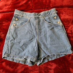 Guess Button Blue Jean Shorts 90's Vintage Retro